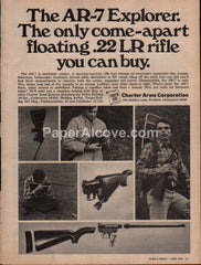 Charter Arms AR-7 Explorer .22 Rifle 1976 vintage original old magazine ad hunting