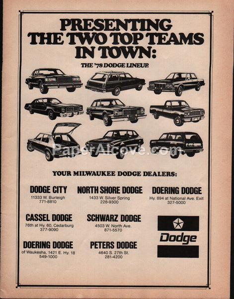 Dodge Milwaukee Dealers 1978 vintage original old magazine ad cars
