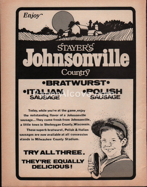 Stayer's Johnsonville Country Bratwurst Italian Polish Sausage 1978 vintage original old magazine ad Milwaukee County Stadium Brewers
