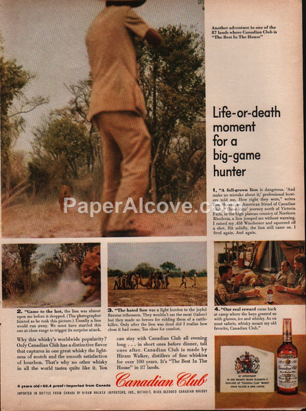 Canadian Club Whisky 1959 vintage original old magazine ad big-game lion hunting
