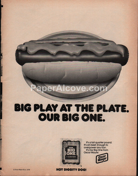 Oscar Mayer Franks Hot Dogs 1978 vintage original old magazine ad Big play at the plate baseball