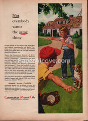 Connecticut Mutual Life Insurance 1959 vintage original old magazine ad boys fishing baseball dog