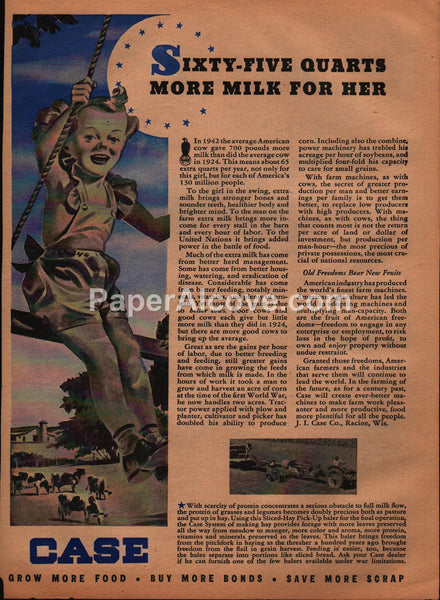 Case sliced-hay pick-up baler tractors 1944 vintage original old magazine ad girl on swing farm cows