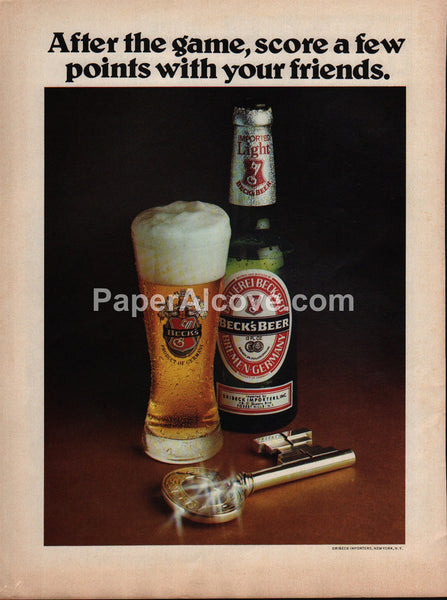 Beck's Beer After the Game 1978 vintage original old magazine ad