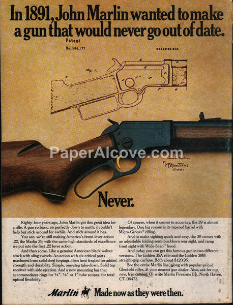Marlin 39 39A 39M .22 lever action rifle 1975 vintage original old magazine ad
