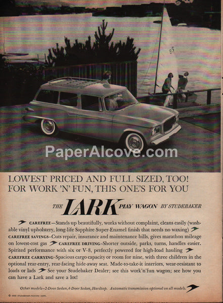 Studebaker Lark Play Station Wagon 1959 vintage original old magazine ad car sailboat