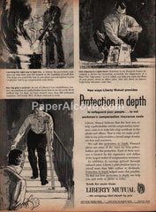 Liberty Mutual Insurance 1959 vintage original old magazine ad protection in depth