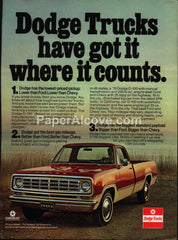 Dodge D-100 red pickup truck 1976 vintage original old magazine ad