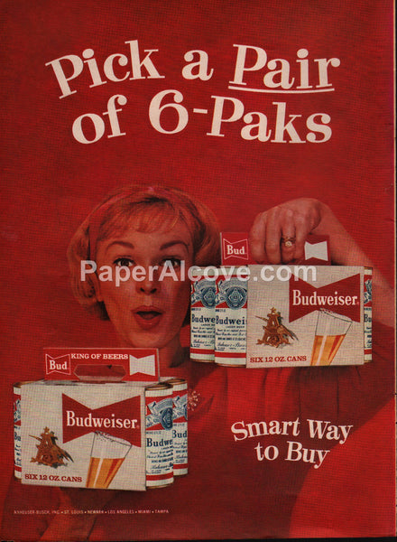Budweiser Beer Pick a Pair of 6-Packs cans carrier 1959 vintage original old magazine ad