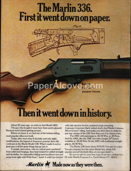 Marlin 336 336A 336C 336T 1893 lever action rifle 1976 vintage original old magazine ad