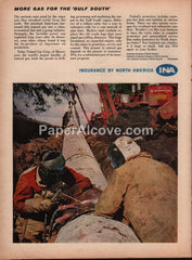 INA Insurance by North America 1959 vintage original old magazine ad United Gas Corp. pipeline welders