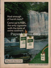 Kool Cigarettes waterfall #3 1976 vintage original old magazine ad tobacco