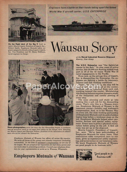 Employers Mutual of Wausau insurance 1959 vintage original old magazine ad Navy U.S.S. Enterprise