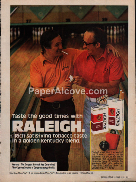 Raleigh Cigarettes bowling 1976 vintage original old magazine ad tobacco