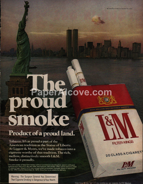 L&M Cigarettes Statue of Liberty World Trade Center Twin Towers 1976 vintage original old magazine ad tobacco