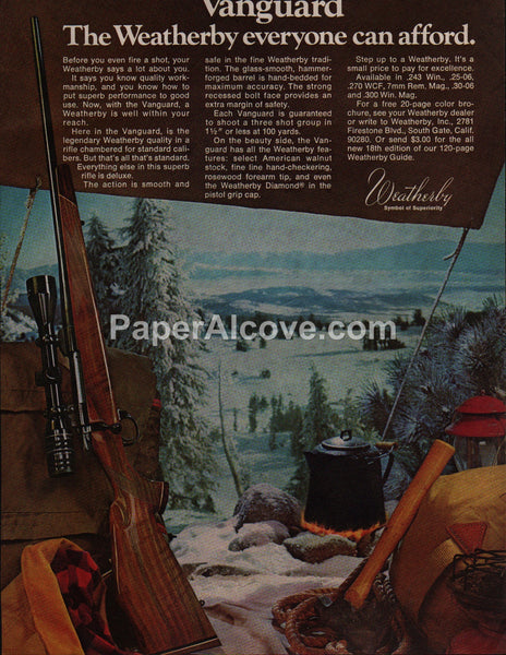 Weatherby Vanguard Rifle 1975 vintage original old magazine ad camping hunting