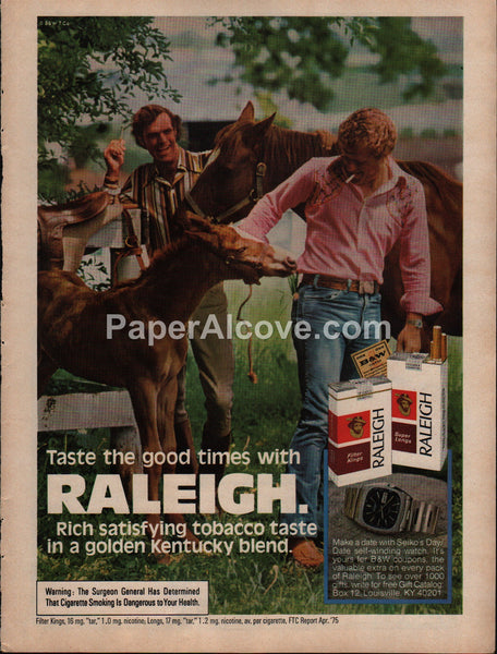 Raleigh Cigarettes men with horses 1976 vintage original old magazine ad tobacco
