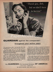 Guardian Life Insurance Company of America 1959 vintage original old magazine ad