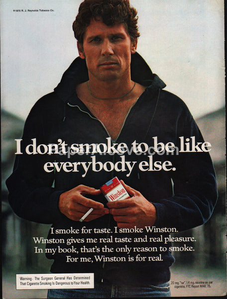Winston Cigarettes tough guy in hoodie 1976 vintage original old magazine ad tobacco