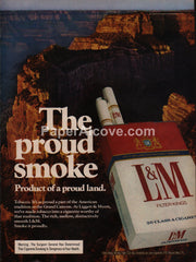 L&M Cigarettes Grand Canyon 1976 vintage original old magazine ad tobacco