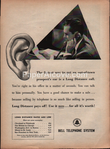 Bell Telephone System Long Distance Call 1959 vintage original old magazine ad salesman AT&T
