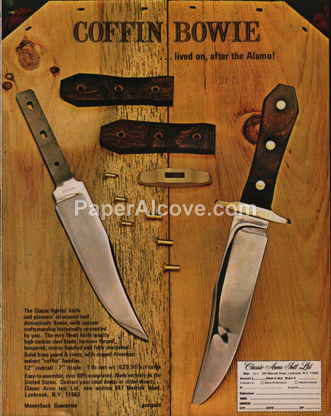 Classic Arms Coffin Bowie Knife 1976 vintage original old magazine ad