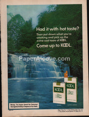 Kool Cigarettes waterfall 1976 vintage original old magazine ad tobacco