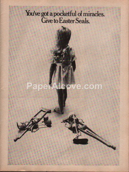 Easter Seals girl walking without braces or crutches 1976 vintage original old magazine ad