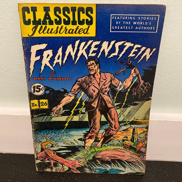 Classics Illustrated 26 Frankenstein 1951 comic book HRN 82 slick cover