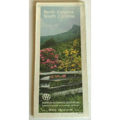 AAA North Carolina South Carolina Travel Road Map Vintage 1986