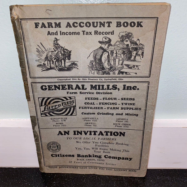 1944 Farm Account Book Springfield Ohio partially used vintage