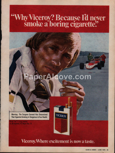 Viceroy Cigarettes Race Car Driver #2 1976 vintage original old magazine ad tobacco