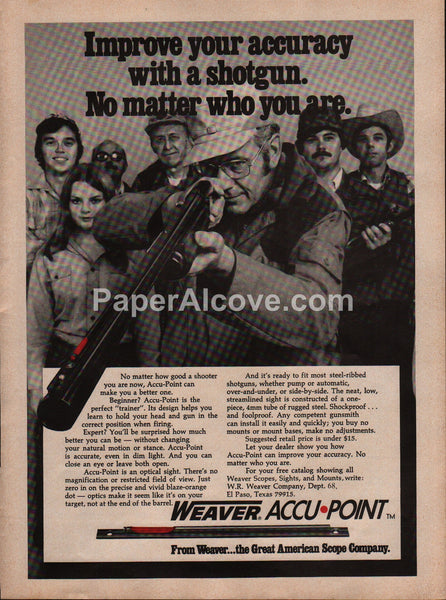 Weaver Accu-Point Shotgun Sight 1976 vintage original old magazine ad hunting