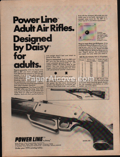 Power Line 880 881 Air Rifle 1975 vintage original old magazine ad Daisy
