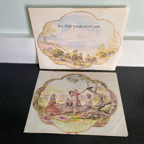 Hot July Brings Picnic Joys 1957 print Tasha Tudor set