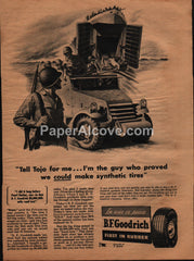 B.F. Goodrich synthetic rubber tires 1944 vintage original old magazine ad WWII military troop carriers Tojo