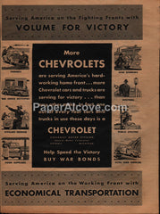 Chevrolet Cars Trucks 1944 vintage original old magazine ad WWII war effort