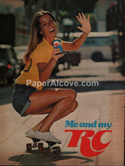 RC Royal Crown Cola 1978 vintage original old magazine ad me and my woman skateboarding