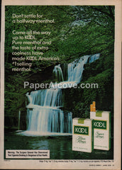 Kool Cigarettes waterfall #2 1976 vintage original old magazine ad tobacco