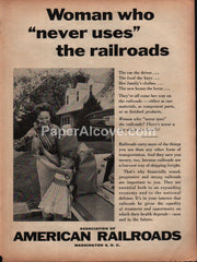 Association of American Railroads woman who never uses the railroads 1959 vintage original old magazine ad