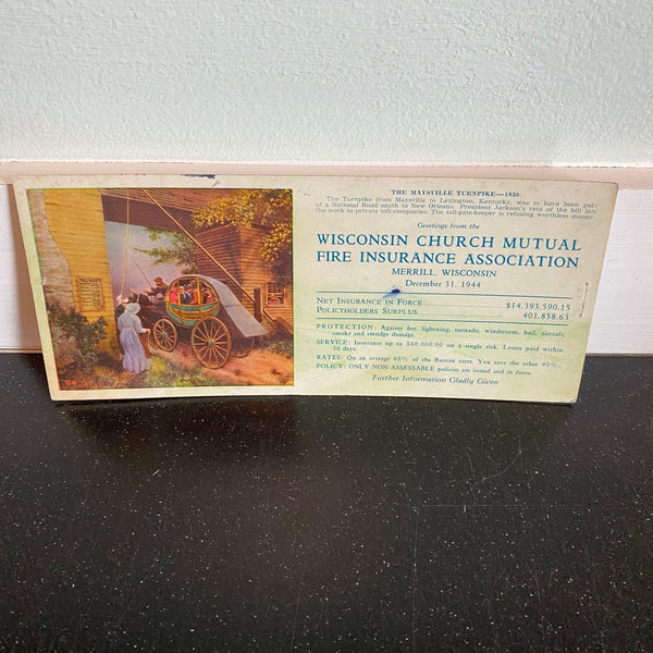 Wisconsin Church Mutual Fire Insurance Association Ink Blotter 1944 Vintage Advertising