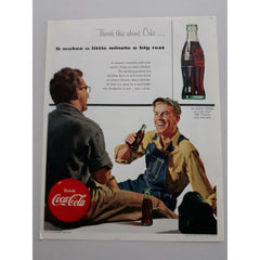 1954 Coca-Cola Soft Drink Beverage Workmen Break Time Coke Vtg Magazine Print Ad