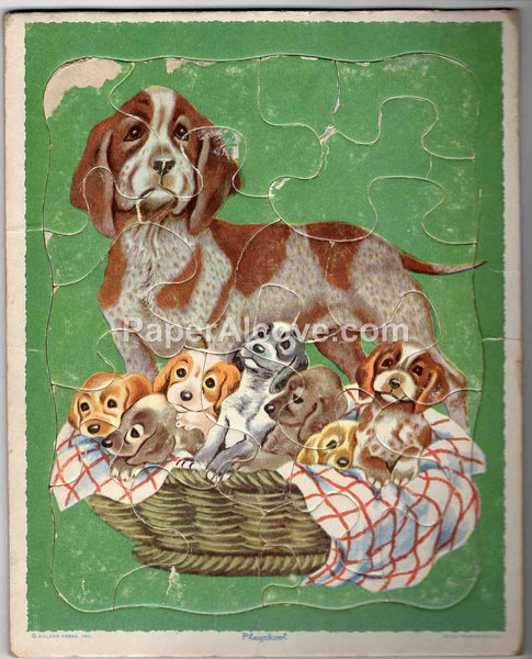 Playskool puppies in basket puzzle 1960s-1970s vintage original old board puzzle 80-11A