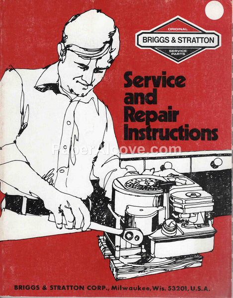 Briggs & Stratton Service and Repair Instructions 1983 vintage original old engine manual Milwaukee WI