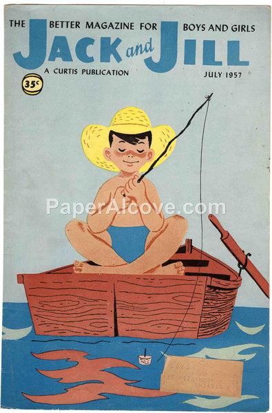 Jack and Jill July 1957 old vintage magazine cover only boy fishing in boat