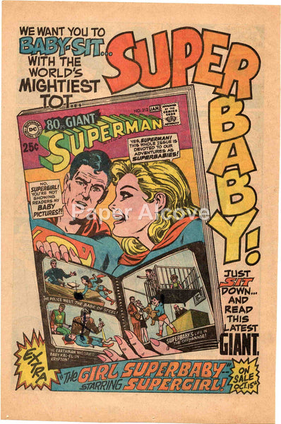 DC Comics 80pg. Giant Superman No. 212 1968 vintage original old comic magazine ad Supergirl Superbaby