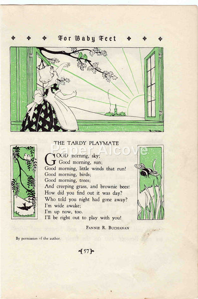 The Tardy Playmate 1928 Antique Print Fannie R. Buchanan Children's Book Illustration Nursery Decor
