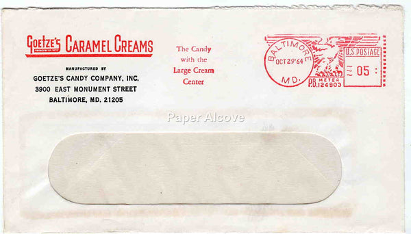 Goetze's Candy Company 1964 vintage Postal Cover trade commercial advertising Caramel Creams Baltimore MD
