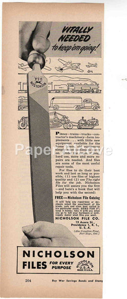 Nicholson Files 1944 vintage original old magazine ad tools Providence RI