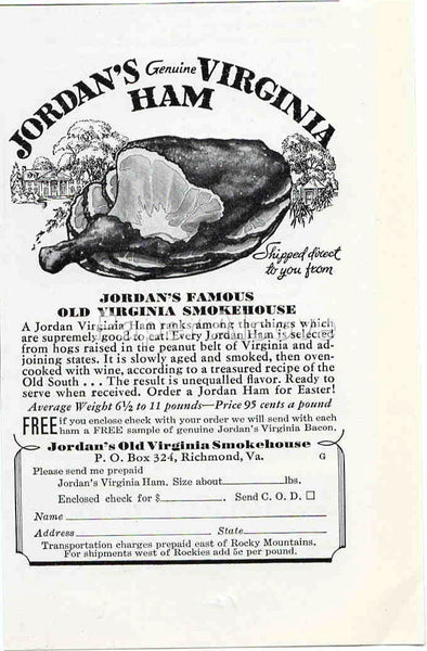 Jordan's Old Virginia Smokehouse Genuine Virginia Ham 1942 ad Richmond VA #237